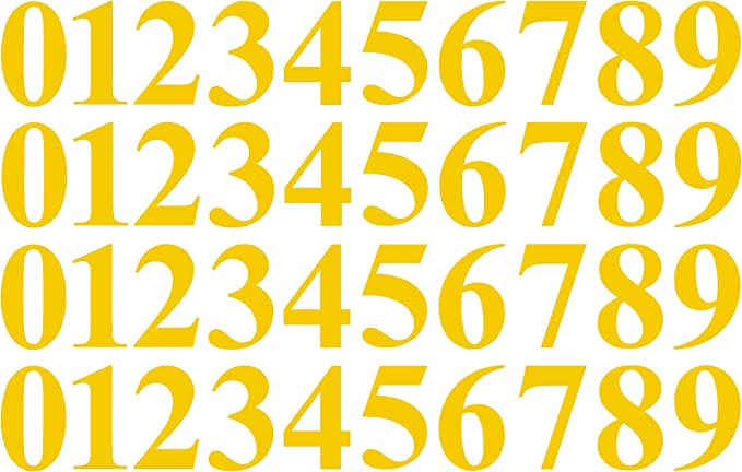 """0-9 Numbers Yellow Sticker Vinyl Decals CHOOSE SIZE! V646 1/"""" To 12/"""" Set Of 40"""