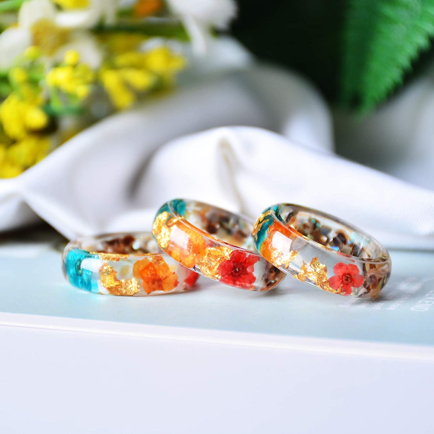 NDJEWELRY Resin Ring Unique Handmade Plastic Resin Ring with Turquoise and Gold Foil Insided Ocean Blue Crystal Ring Wedding Band Cocktail Party Ring
