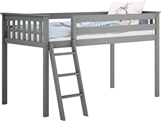 Max & Lily Solid Wood Twin-Size Low Loft Bed, Grey