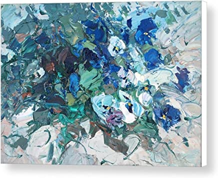 31c1ca6f074 White Blue Pansy Print on Canvas Ready to Hang Floral Wall Art Italian  Artwork Impressionist Home