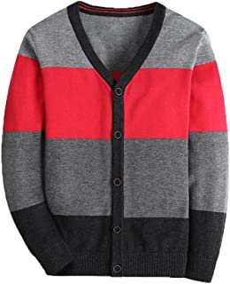 Boy Striped Sweater Cardigan Zipper Up Closure Sweater Jacket for Boys Thick Sweater Long Sleelve Cotton