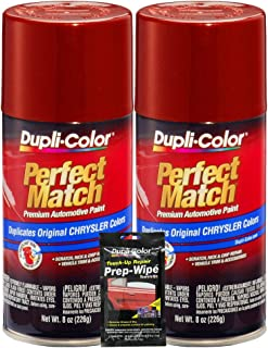Dupli-Color Chili Pepper Red Pearl Perfect Match Automotive Paint for Chrysler Vehicles - 8 oz, Bundles with Prep Wipe (3 Items)