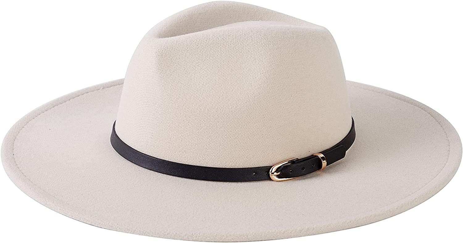 Nakiwi Women's Classic Flet Fedora Hat Summer Wear with Wide Brim and Belt Buckle, Soft Panama Cap for Ladies