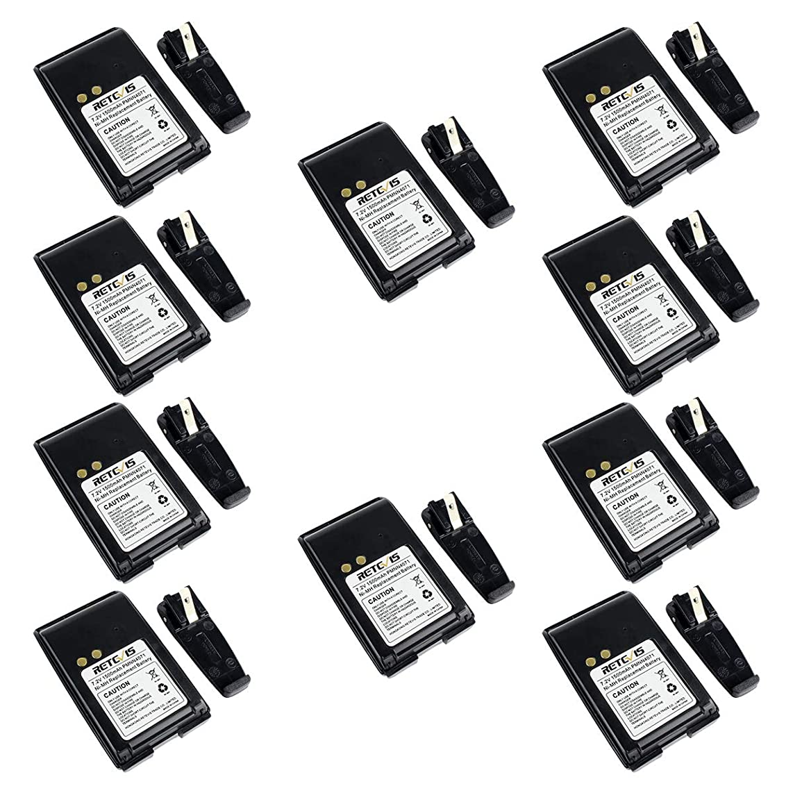 Retevis Two Way Radio Rechargeable Battery and Belt Clip 7.2V 1500mAh Ni-MH Battery Compatible with Motorola Mag One BPR40 A8 PMNN4071 PMNN4071AR Walkie Talkies (10 Pack)