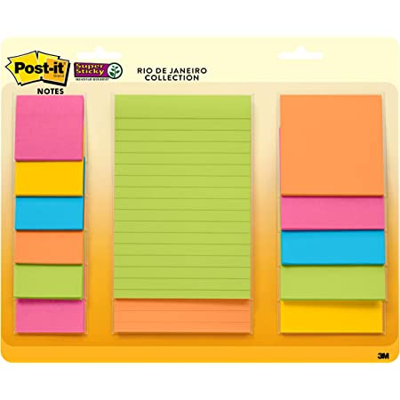 Post-it Super Sticky Notes, Assorted Sizes, 13 Pads, 2x the Sticking Power, Rio de Janeiro Collection, Bright Colors (Orange, Pink, Blue, Green), Recyclable (4623-13SSAU)