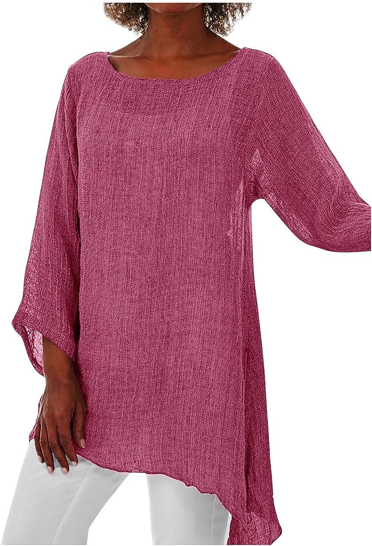 BISADXQ Women's Cotton Linen Solid Color Tops Casual Plus Size Loose Blouse