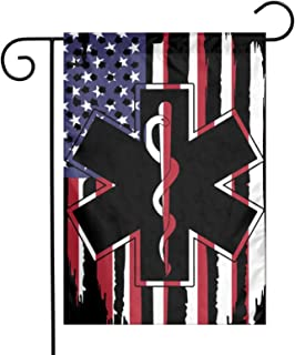 American Flag Ems Star Of Life Emt Paramedic Garden Flag 12 X 18 Inch Double Stitched Vertical Flag For Garden Decorative,...