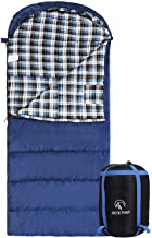 "Best Cotton Flannel Sleeping Bag for Adults, 23/32F Comfortable, Envelope with Compression Sack Blue/Grey 2/3/4lbs (91""x35"") Review"
