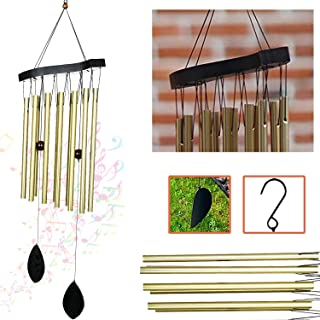 Ashman 30 inch Golden Wind Chimes - Tone Symphony Wind Chimes with 12 Golden Copper Vein Tubes - Tuned Relaxing Melody Gif...
