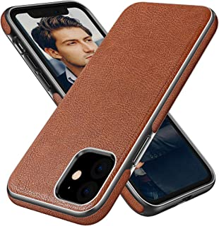 Diaclara Cases Compatible with iPhone 11 Leather Handmade Prime Cover Business Thin Full Body Protective Shell with Shinning Edge Never Faded for Apple 2019-6.1'' (Brown)