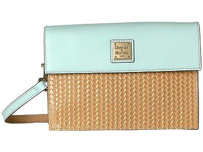 Dooney & Bourke Beacon Woven East/West Flap Crossbody (Sand/Pale Blue Trim) Cross Body Handbags