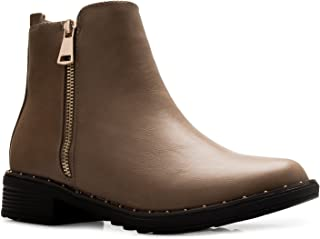 OLIVIA K Women's Casual Chelsea Style Easy Pull On Side Zipper Low Heel Ankle Bootie