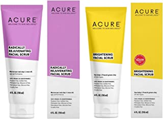 Acure Pore Clarifying & Brightening Facial Scrub and Exfoliator Bundle with Moroccan Red Clay, Argan Extract, Argan Stem Cell and Chlorella, 4 Oz. Each