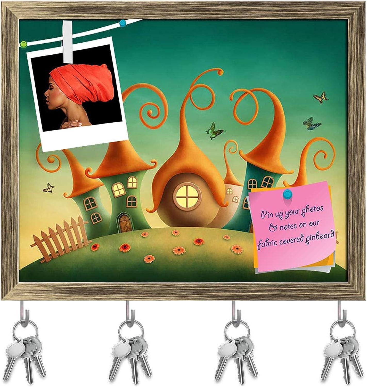 Artzfolio Fantasy Houses D2 Key Holder Hooks   Notice Pin Board   Antique golden Frame 19.8 X 16Inch