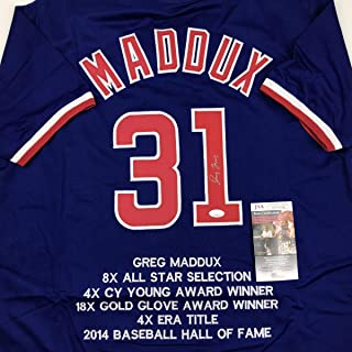 Autographed/Signed Greg Maddux Chicago Blue Stat Baseball Jersey JSA COA