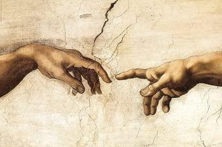 LegendArte P-097 Cuadro La Creación de Adán (Detalle). Impresión Digital sobre Lienzo. Pintura de Michelangelo Buonarrotti, Multicolor, 80x120