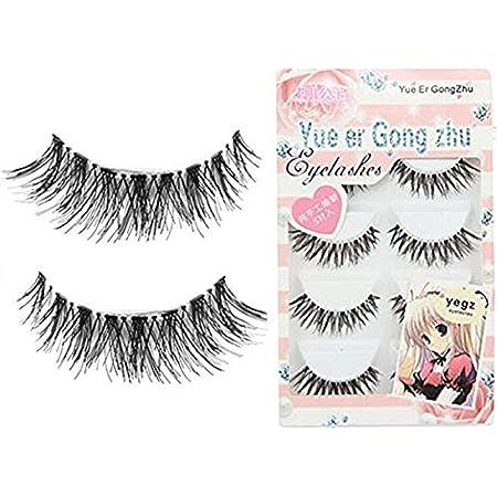 Wenini False Eyelashes 2019 New Soft 5 Pairs Long Makeup Cross Thick False Eyelashes Eye Lashes Nautral Natural Round Look 100/% Handmade Reusable