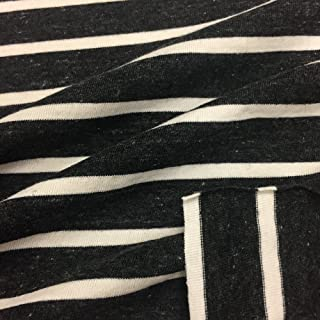 USA Made Premium Quality Cotton Blend Striped Jersey Knit Fabric - Charcoal Natural - 1 Yard