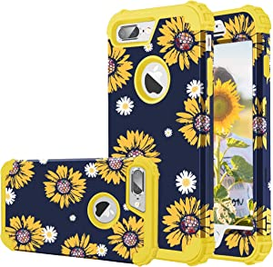 Fingic iPhone 7 Plus Case, iPhone 8 Plus Case, Sunflower 3 in 1 Heavy Duty Protection Hybrid Hard PC Soft Silicone Rugged Bumper Anti Slip Full-Body Shockproof Protective Case for iPhone 8 Plus/7 Plus