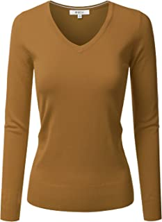DRESSIS Womens Classic Long Sleeve V-Neck Knit Sweater Top