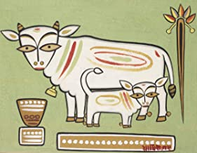 Berkin Arts Jamini Roy Giclee Art Paper Print Art Works Paintings Poster Reproduction(Cow Andlf) #XZZ