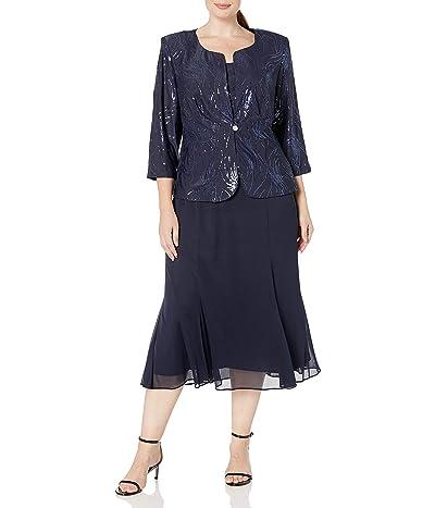 Alex Evenings Plus Size Tea Length Button-front Jacket Dress