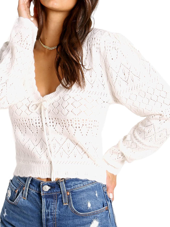 For Love & Lemons Blanca Crochet Sweater Ivory