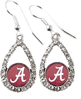 Sports Accessory Store Alabama Crimson Tide Red Teardrop Clear Crystal Silver Earrings Jewelry UA
