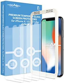 Beam Electronics Screen Protector for iPhone X,XS,11 Pro (4 Pack) Tempered Glass Screen Protector with Advanced Clarity [3...