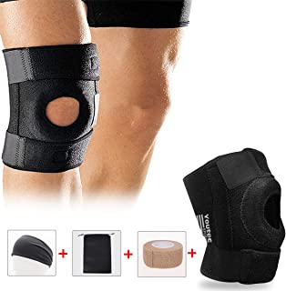 Youtec Knee Brace, Knee Sleeve, Knee Support Hinged Leg Pad Men & Women Large Small with Adjustable Velcro for Meniscus Tear, Arthritis, ACL, MCL, Sport, Running, Basketball, Wrestling, Calf, Black