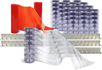 MaxBullet Aluminum Mounting System Aleco 440814 Clear-Flex Vinyl Strip Door 5 x 7 8 x 0.080 Low-Temp Scratch-Guard Ribbed 50/% Overlap