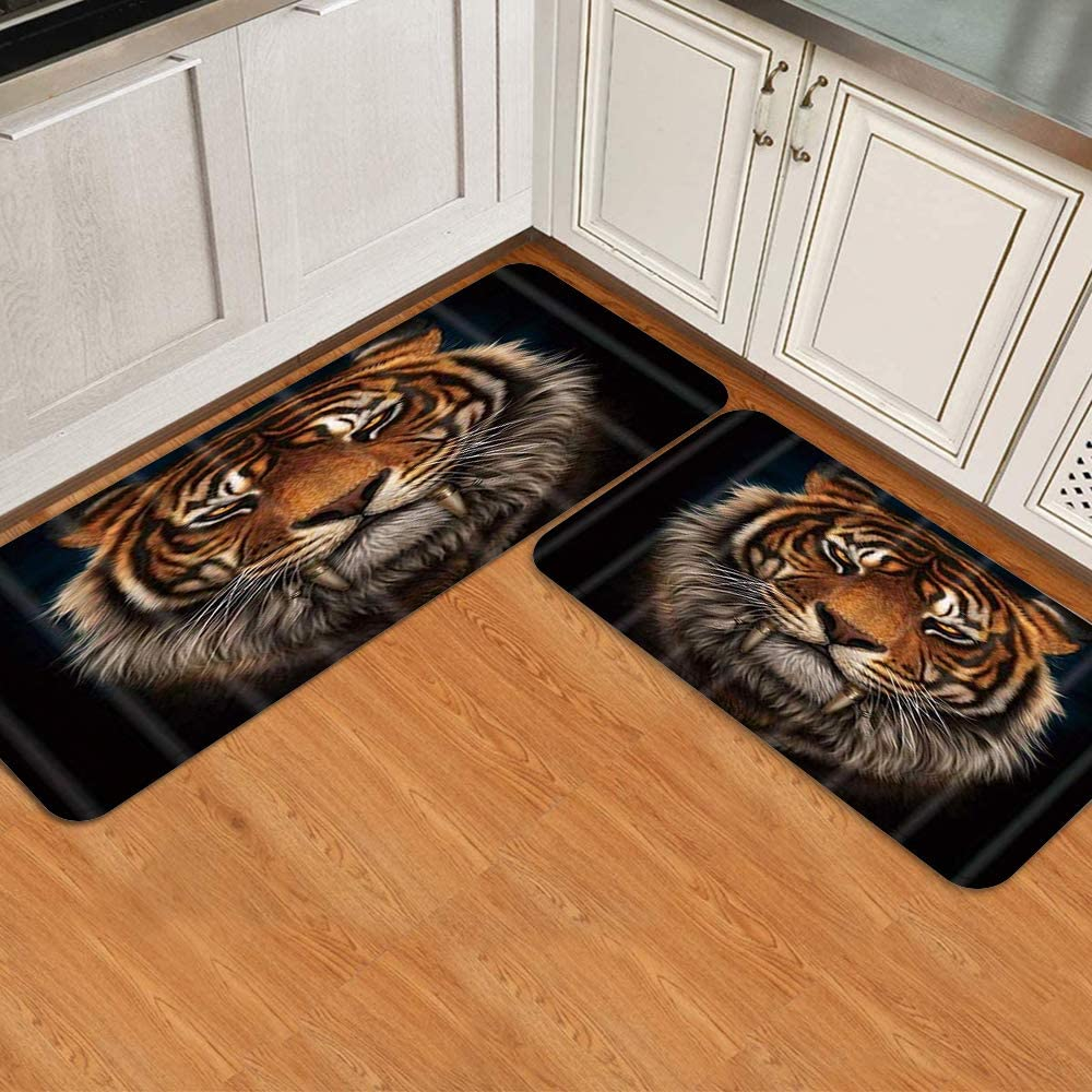PATINISA Kitchen Excellence Mat Set 2 Piece Tiger 1 year warranty Non 3D Slip Printed Head