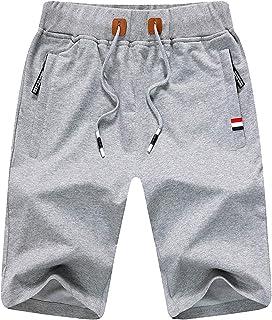 LBL Mens Summer Shorts Casual Sports Joggers Shorts with Elasticated Waist Zipper Pockets