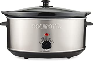 Courant Oval Slow Cooker Crock, with Easy Options 7 Quart Dishwasher Safe Pot, Stainless Steel