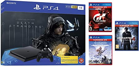Playstation 4 Slim 1TB Console with Death Stranding Bundle (PS4) and 3 Hits Games - Uncharted 4, Zero Horizon Dawn and Gran Turismo - Official UAE Version (AmazonExclusive)
