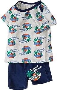 Baby Kids Boys Girls Sunset Beach Clothing Set Summer Casual Short Sleeve Letter Cartoon Print Tops Shorts Outfits Set