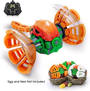 Remote Control Dinosaur Toys, MakeTheOne RC Transformable Monster Dragon, 2.4GHz Radio Controll Vehicle, 360 Degree Stunt Rotating W/ Electronic Music & Colorful LED Lights, Orange