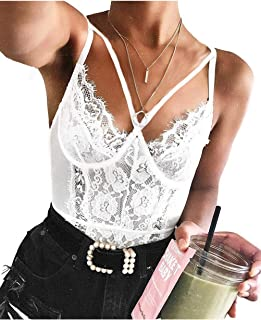 Front Double Strap See Through Lingerie,V-Neck Floral Lace Babydoll,Sexy Lingerie for Women,One Piece Bodysuit