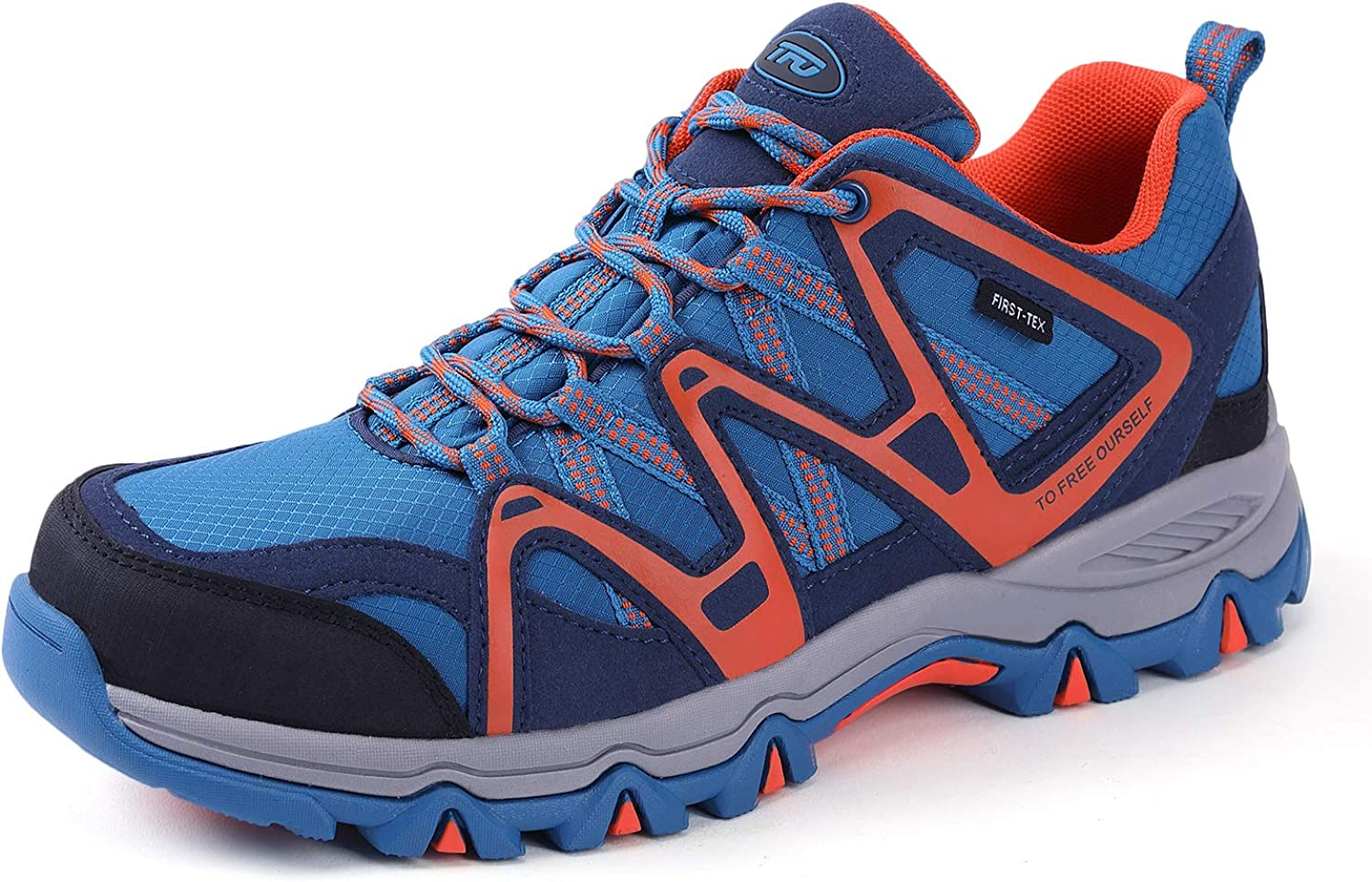 TFO Men's Breathable Walking Hiking shoes Outdoor Running Backpacking Athletic Trekking Sneakers(Size 8.5 bluee orange)