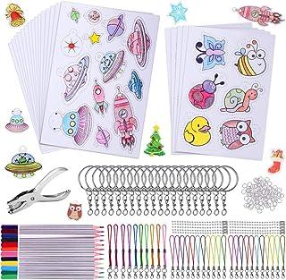 Plastique Fou,193Pcs Feuille Plastique Fou Plastique Magique Comprend 10 Plastic Fou Blank,10 Papier Fou avec Motif, Perfo...