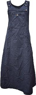 Gheri Womens lungo enzima lavato Plain Pinafore vestito di cotone