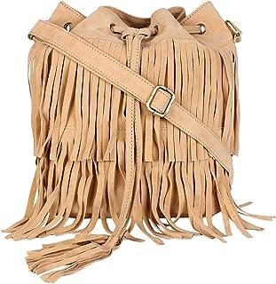 Sakwoods Women Pu Fringes Cream Sling Bag