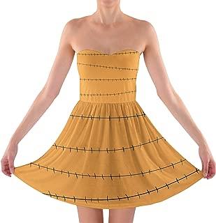 Rainbow Rules Stitches Jack Skellington Inspired Sweetheart Skater Dress Strapless