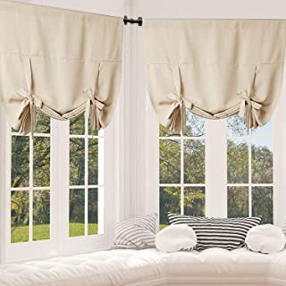 Rose Home Fashion Tie Up Curtain Blackout Curtains Innovated Tie Up Shades Thermal Insulated Rod Pocket Curtain for Windows (Beige-42by63, 2Pieces)