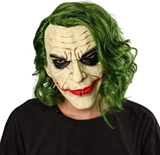 Joker Mask Movie Batman The Dark Knight Cosplay Horror Scary Clown Mask with Green Hair Wig Halloween Latex Masks Party Costume