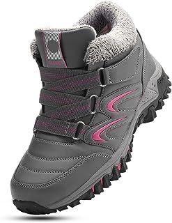 gracosy kvinnor snöstövlar damer vinter päls fodrad varm platt ankelstövlar PU läder yta vattentäta promenadstövlar komfor...
