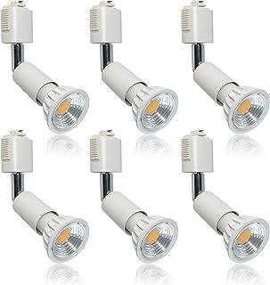 ライティングバー用スポットライト E11口金 LED電球付き 6000K昼光色5.5W(50-60W形相当)ハロゲン電球 AC100V 調光不可 90度配光 LEDスポットライト ライティングレール 白い 6個入(Uplight)