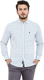 Red Tape Men's Checkered Regular Fit Casual Shirt (RSF9324A_Sky Blue_L)