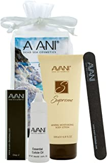 AVANI Dead Sea Cosmetics Women's Premium Quality Nail Care Kit – Includes Cuticle Oil, Nail Buffer, Nail File, Mineral Moisturizing Body Lotion