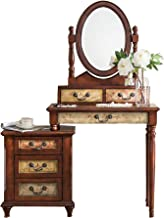 Dressing Table with Stool Bedside Table Matching Bedroom Furniture Painted Hand-Painted Retro Classic Style 47X16x61in,Bro...